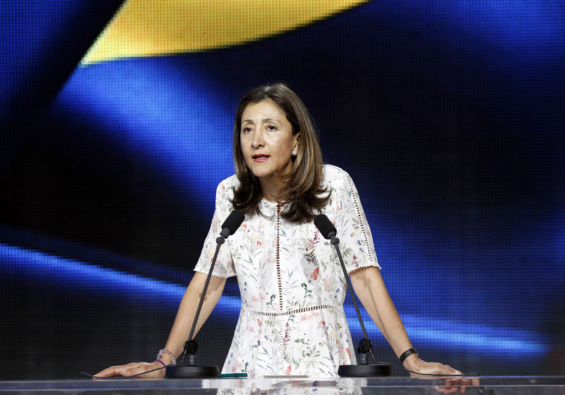 Image: Ingrid Betancourt, author and Colombian-French politician, former senator and anti-corruption activist introducing a segment 'Remembering Iranian political prisoners and their relatives' at the Free Iran grand gathering at Le Bourget, Paris, France. Copyright Siavosh Hosseini | The Media Express 2016.