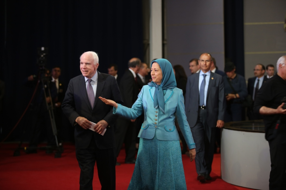 Senator John McCain meeting with PMOI members who were relocated to Tirana, Albania from Camp Ashraf, Iraq